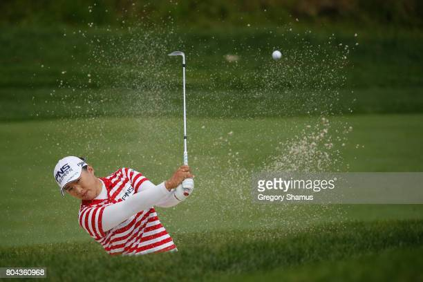 Amy Yang of South Korea hits from a green side sand trap on the 12th hole during the second round of the 2017 KPMG PGA Championship at Olympia Fields...
