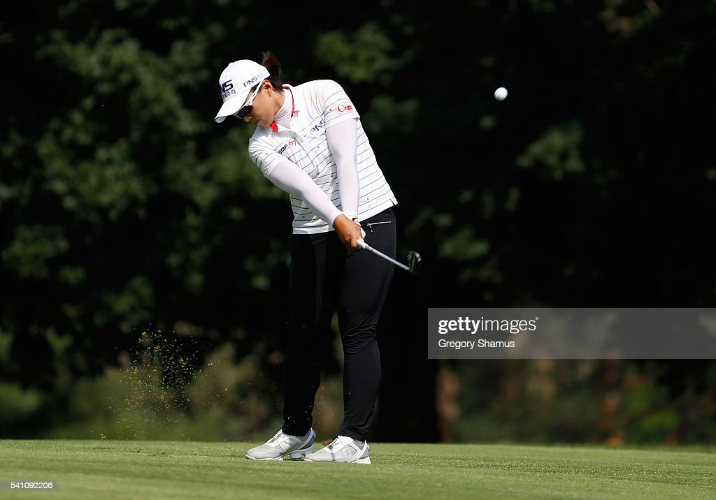 Amy Yang of South Korea hits her second shot on the 17th hole during the third round of the Meijer LPGA Classic on June 18 2016 at Blythefield...