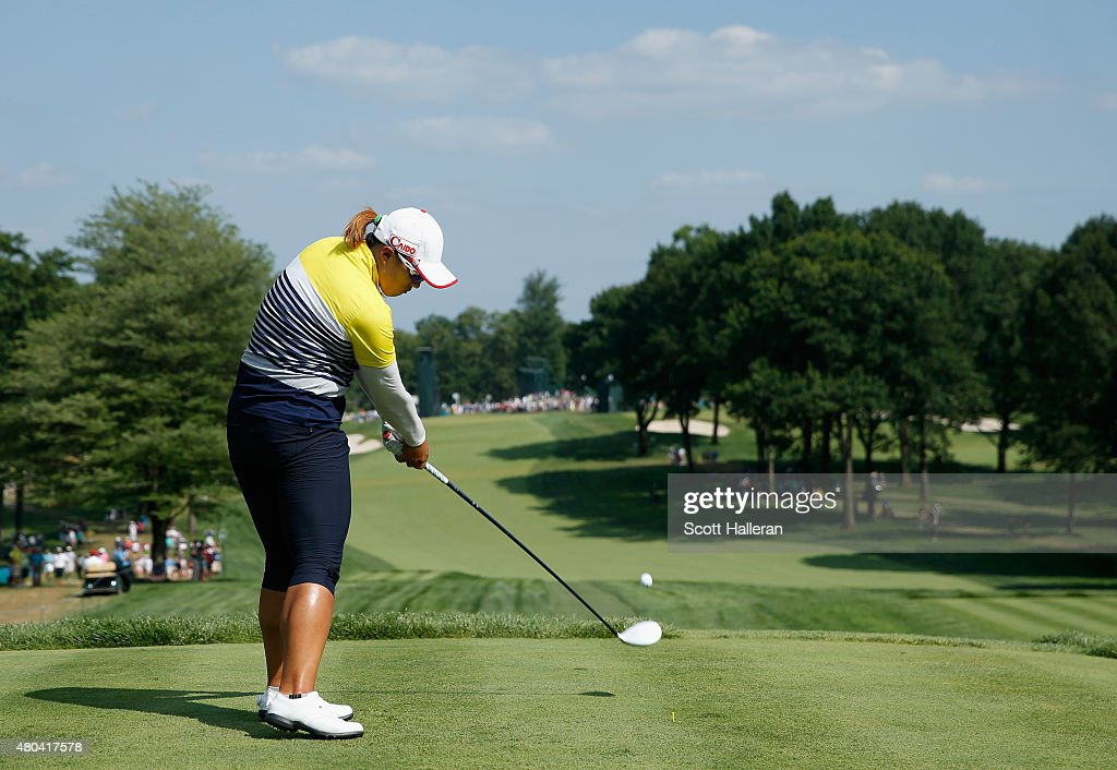 Amy Yang of South Korea hits her tee shot on the 11th hole during the third round of the US Women's Open at Lancaster Country Club on July 11 2015 in...