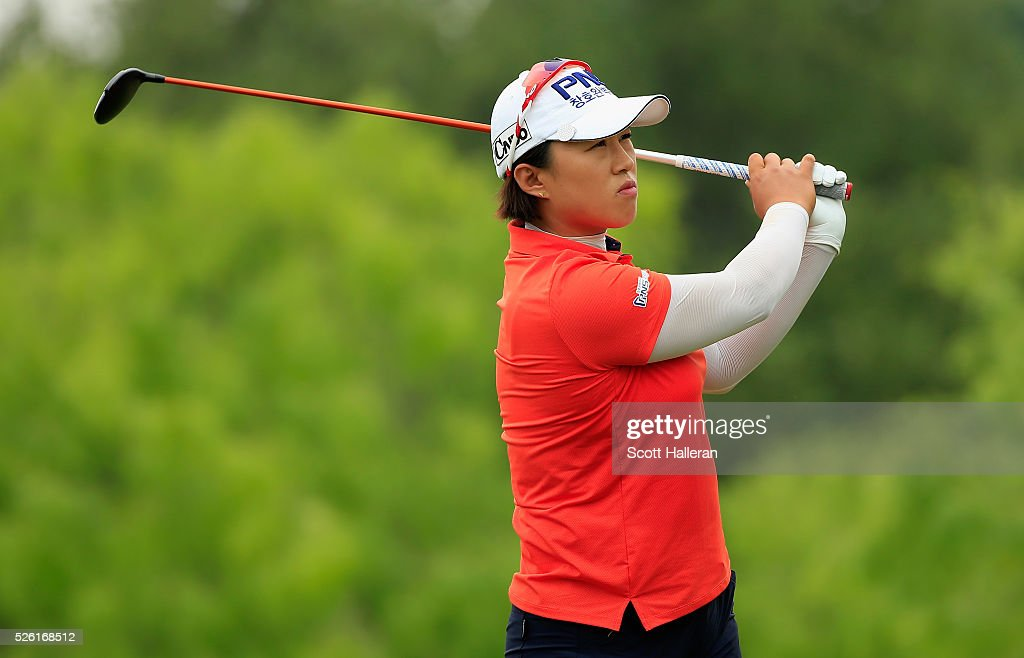 <a gi-track='captionPersonalityLinkClicked' href=/galleries/search?phrase=Amy+Yang&family=editorial&specificpeople=739014 ng-click='$event.stopPropagation()'>Amy Yang</a> of South Korea hits her tee shot on the eighth hole during the second round of the Volunteers of America Texas Shootout at Las Colinas Country Club on April 29, 2016 in Irving, Texas.