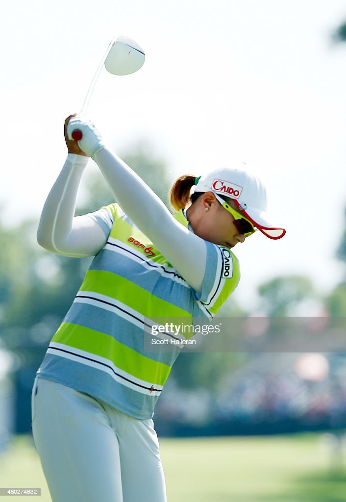 Amy Yang of South Korea hits her tee shot on the ninth hole during the second round of the US Women's Open at Lancaster Country Club on July 10 2015...
