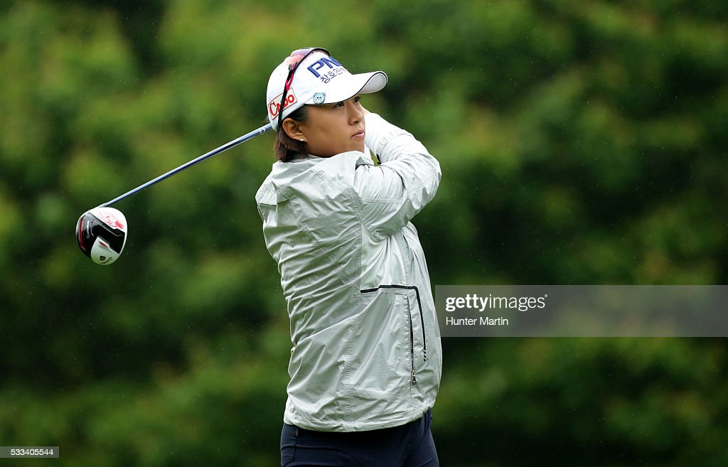 Amy Yang of South Korea hits her tee shot on the third hole during the final round of the Kingsmill Championship presented by JTBC on the River...