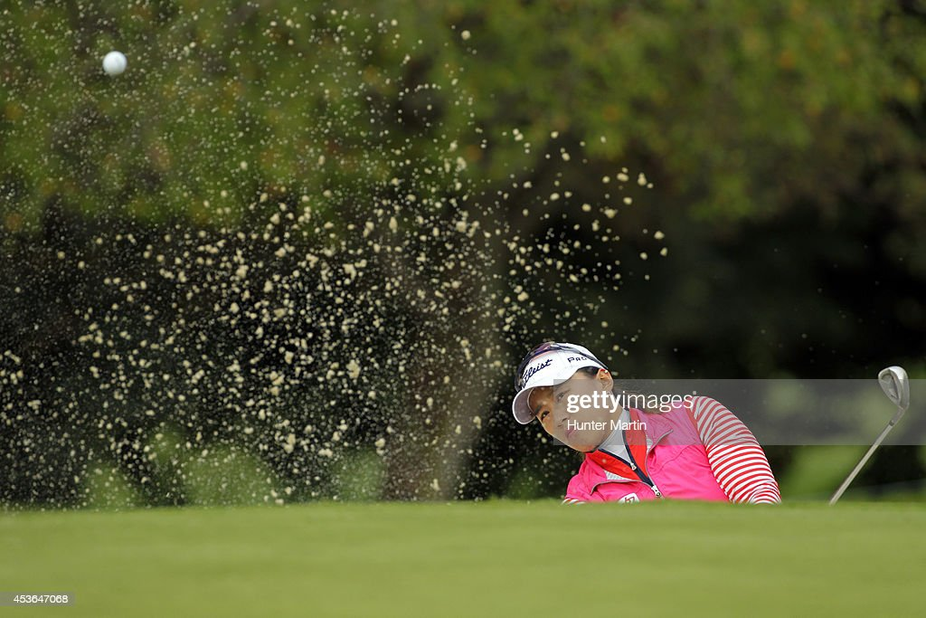 Amy Yang of South Korea hits her third shot on the 10th hole during the second round of the Wegmans LPGA Championship at Monroe Golf Club on August 15, 2014 in Pittsford, New York.
