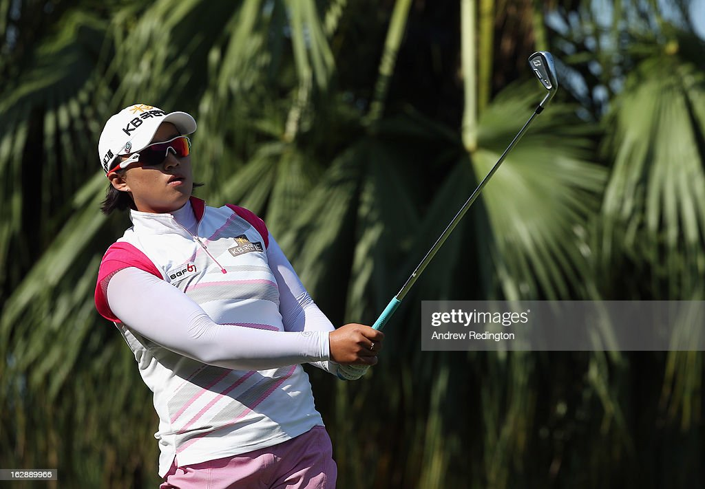 Amy Yang of South Korea in action during the second round of the HSBC Women's Champions at the Sentosa Golf Club on March 1, 2013 in Singapore, Singapore.