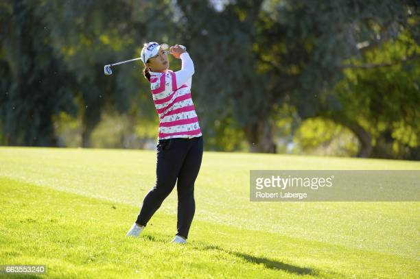 Amy Yang of South Korea makes a shot out of the rough on the ninth hole during the third round of the ANA Inspiration on the Dinah Shore Tournament...