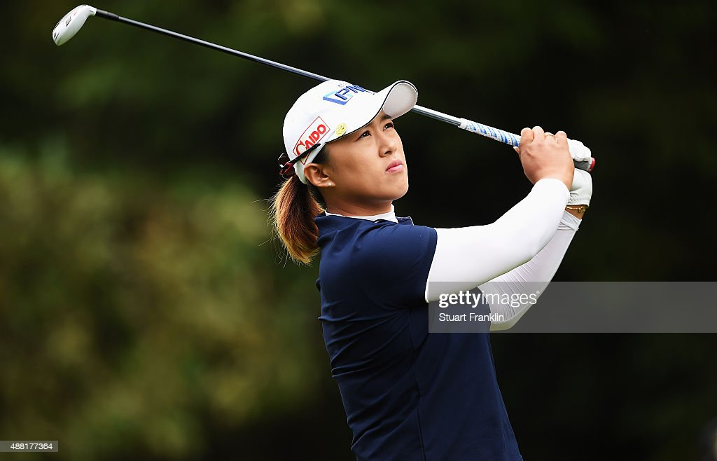 Amy Yang of South Korea plays a shot during the final round of the Evian Championship Golf on September 13 2015 in EvianlesBains France