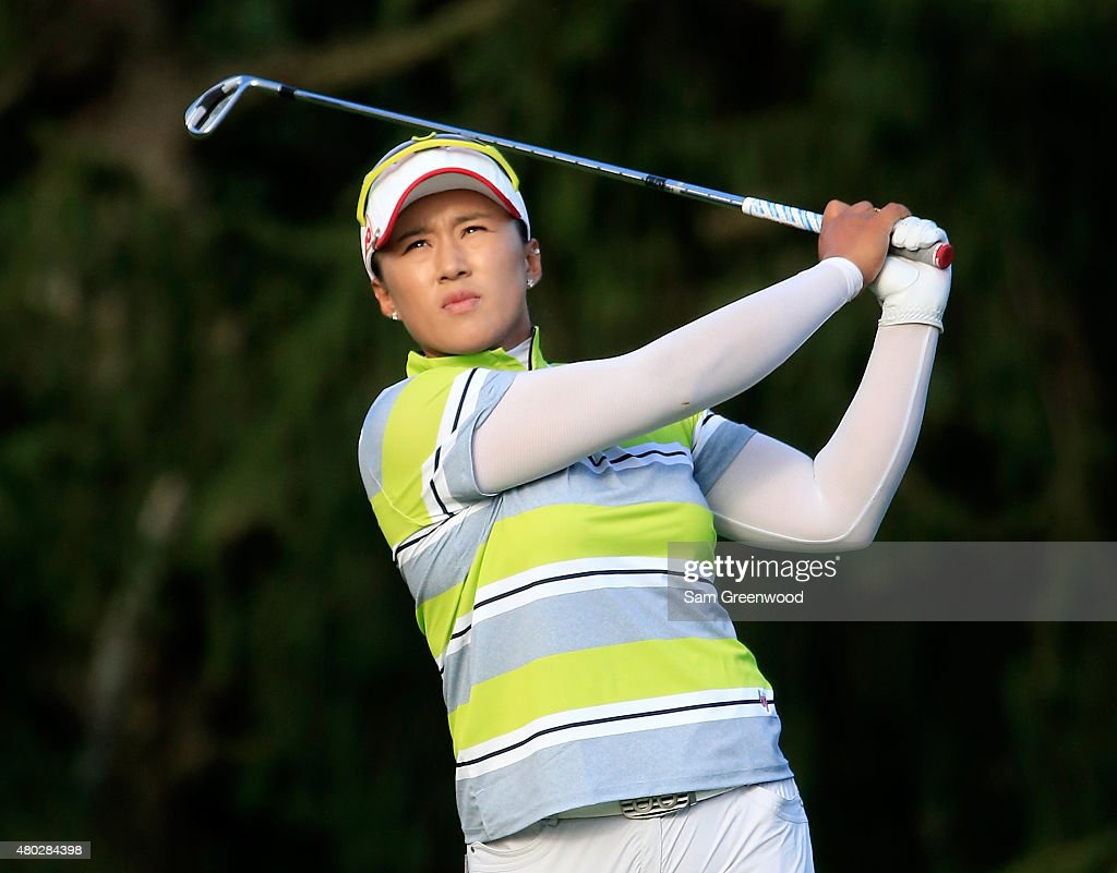 Amy Yang of South Korea plays a shot on the 17th hole during the second round of the US Women's Open at Lancaster Country Club on July 10 2015 in...