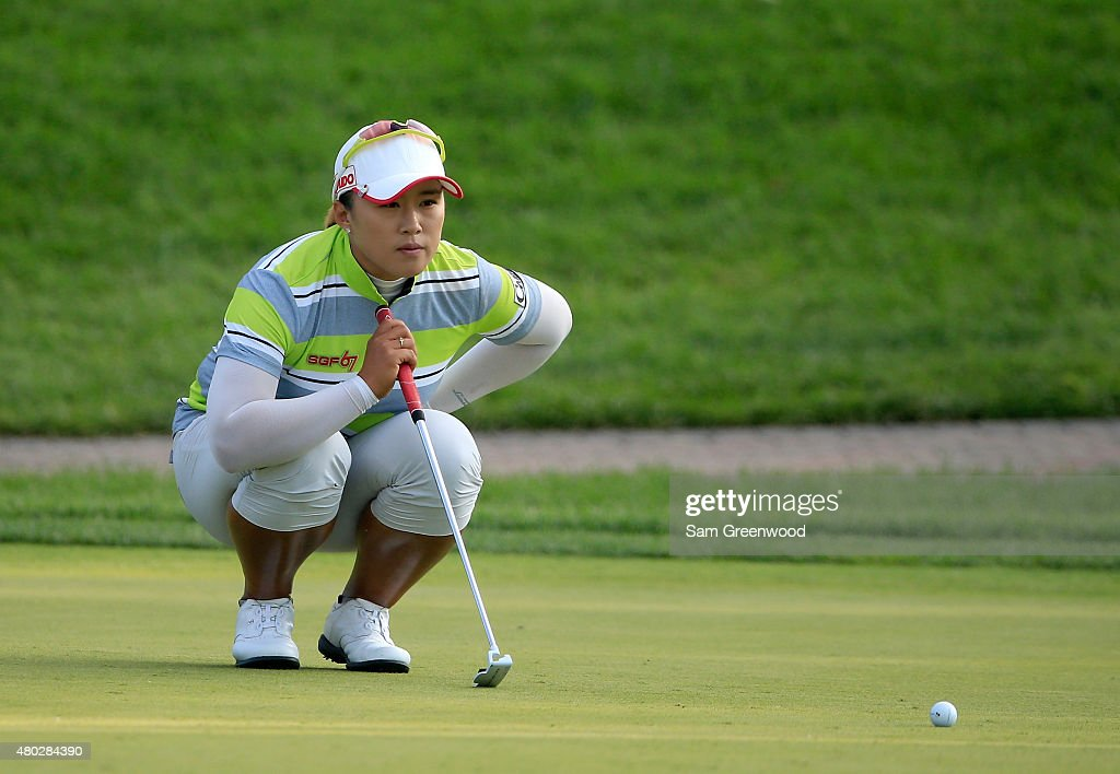 Amy Yang of South Korea plays a shot on the 18th hole during the second round of the US Women's Open at Lancaster Country Club on July 10 2015 in...