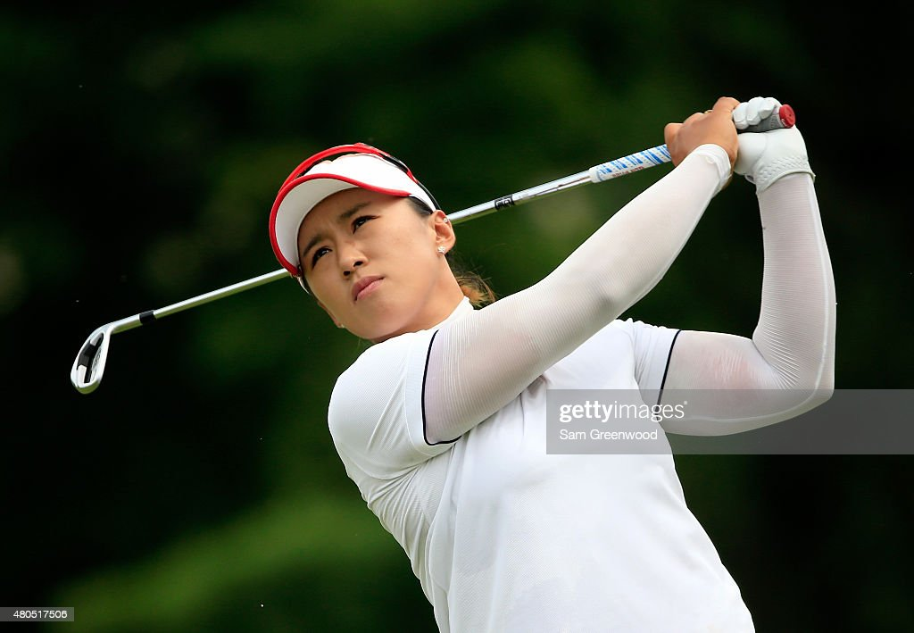 Amy Yang of South Korea plays a shot on the 6th hole during the final round of the US Women's Open at Lancaster Country Club on July 12 2015 in...