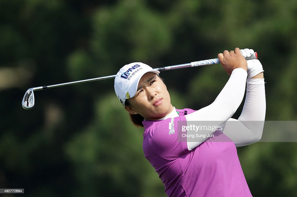 Amy Yang of South Korea plays a tee shot on the 3rd hole during the first round of LPGA KEBHanaBank Championship at Sky 72 Golf Club Ocean Course on...