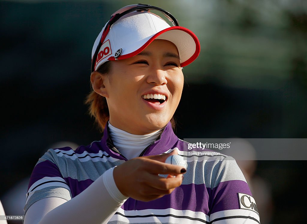 Amy Yang of South Korea prepares to start Round Two of the 2015 Volunteers of America North Texas Shootout Presented by JTBC at Las Colinas Country...