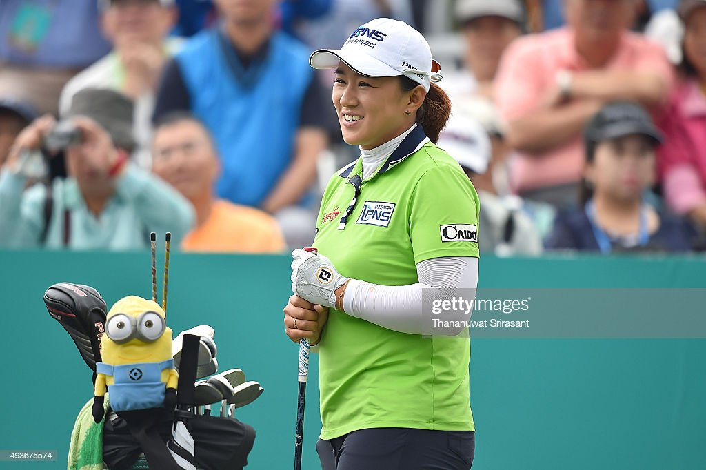 Amy Yang of South Korea smiles during the round one of 2015 Fubon LPGA Taiwan Championship at Miramar Resort Country Club on October 22 2015 in...