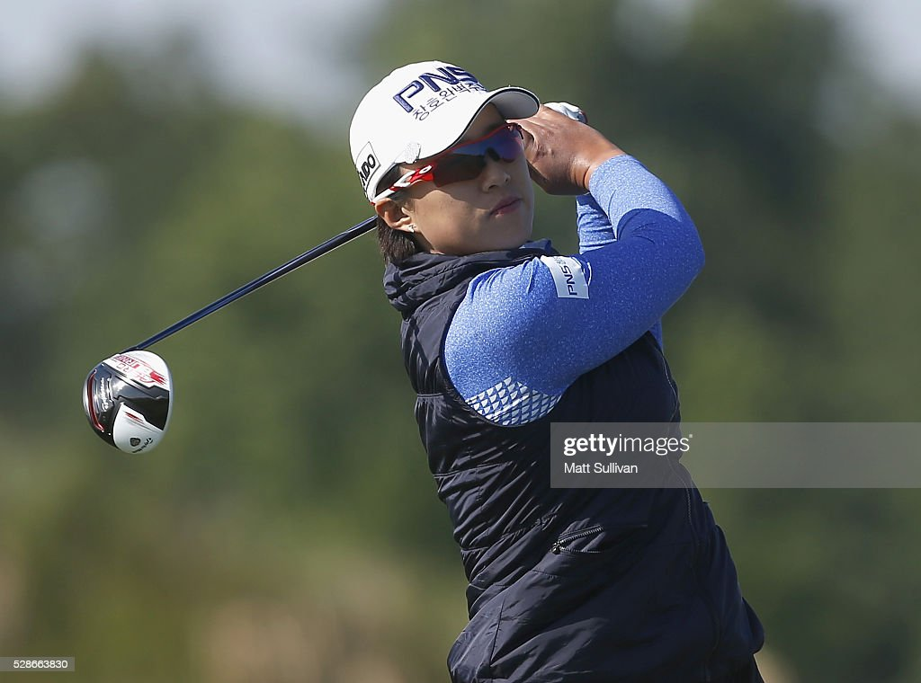 Amy Yang of South Korea watches her tee shot on the 10th hole during the second round of the Yokohama Tire Classic on May 06, 2016 in Prattville, Alabama.