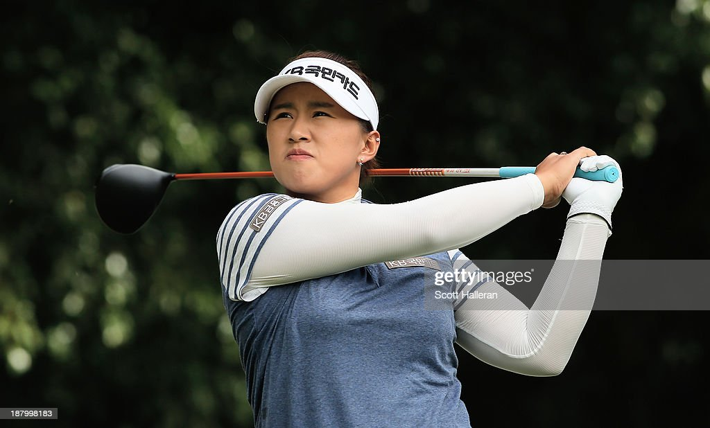 Amy Yang of South Korea watches her tee shot on the fourth hole during the first round of the Lorena Ochoa Invitational Presented by Banamex and...