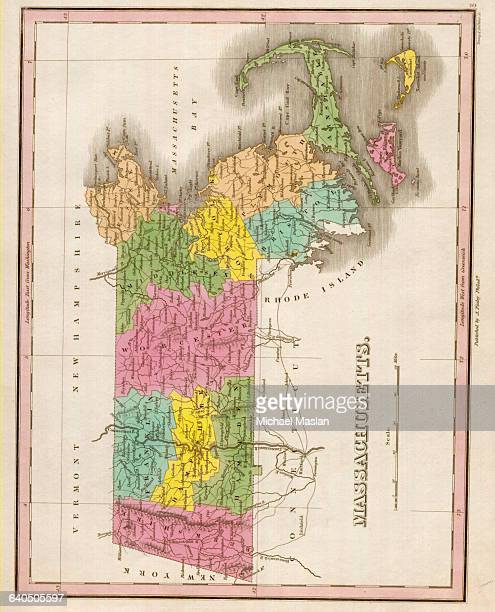 An 1826 map of Massachusetts includes entries for settlements counties rivers and mountains Included are Cape Cod Marthas Vineyard and Nantucket...