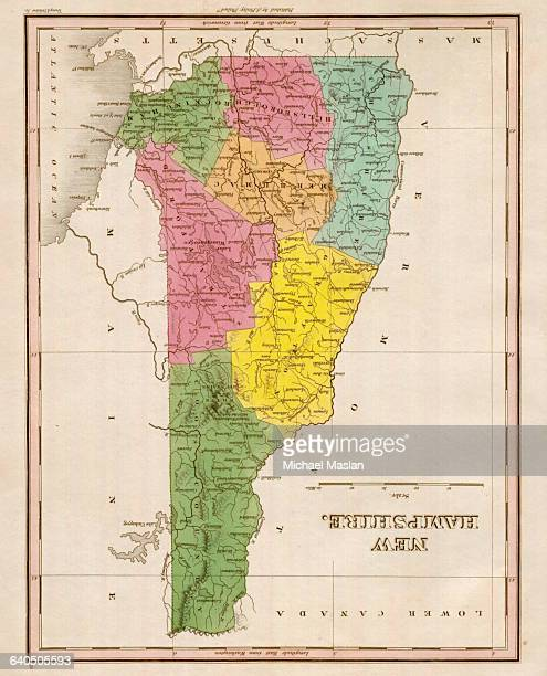An 1826 map of New Hampshire includes entries for settlements mountain ranges lakes and rivers It also includes boundaries for the counties of Coos...
