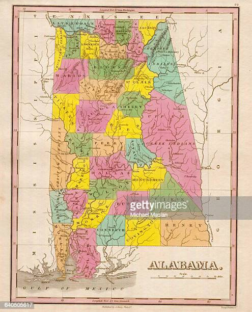 An 1826 map of the state of Alabama shows county boundaries roads settlements and topographical features Also depicted are reservations for the Upper...