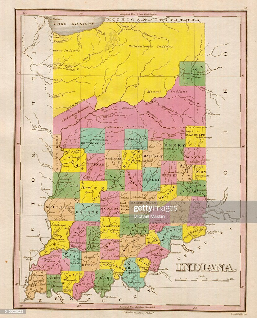 Map Of Indiana Pictures Getty Images - Map of miami county indiana