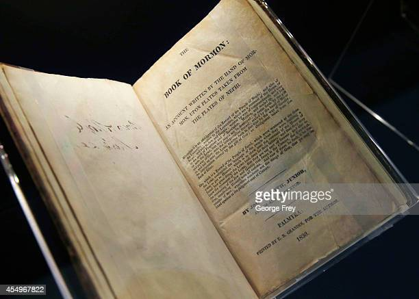 An 1830 first edition of the Mormon scripture 'Book of Mormon' is displayed at the Church of Jesus Christ of LatterDay Saints Church History Library...