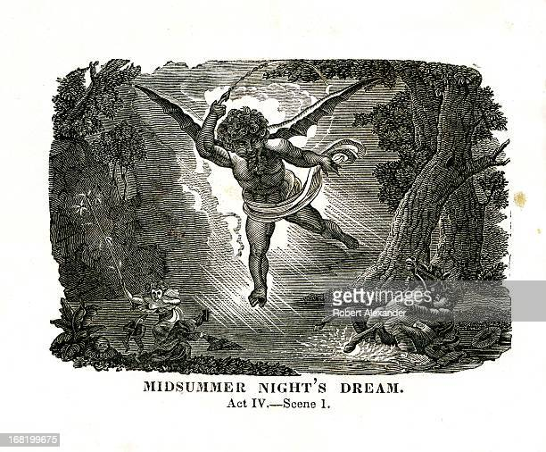 An 1834 engraved illustration of William Shakespeare's 'Midsummer Night's Dream' from the book 'The Dramatic Works of William Shakspeare Accurately...