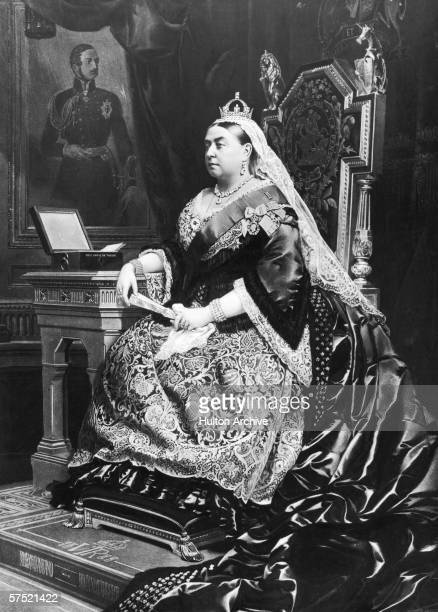 An 1883 painting of Queen Victoria taken from an 1882 photograph by Alexander Bassano Behind the queen is a portrait of her deceased consort Prince...