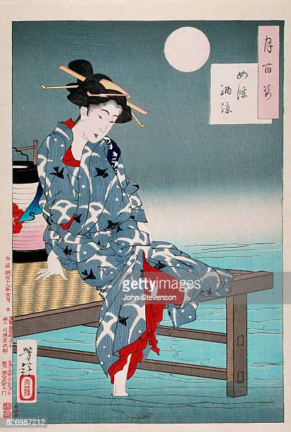 An 1885 woodblock print depicting a young waitress cooling off in the waters of Kyoto's Shijo district During the hot summer months restaurants along...