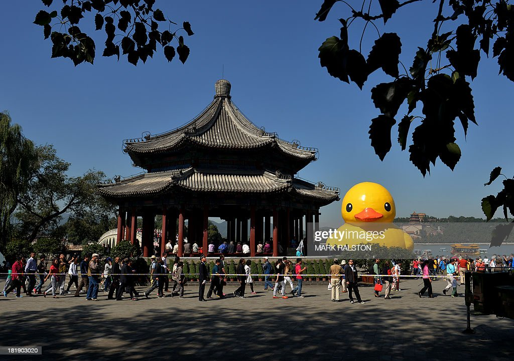 An 18-metre tall inflatable duck beside a Chinese pagoda after its move to the historic Summer Palace in Beijing on September 26, 2013. The duck designed by Dutch artist Florentijn Hofman is to be displayed at Beijing's Garden Expo Park and the Summer Palace, from September to October as part of a world tour of 13 cities across 10 countries. AFP PHOTO / Mark RALSTON