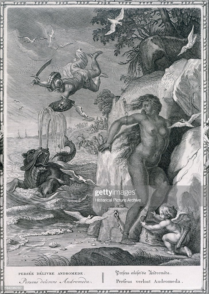 An 18th century engraving by B Picart showing Perseus rescuing Andromeda from the Kraken