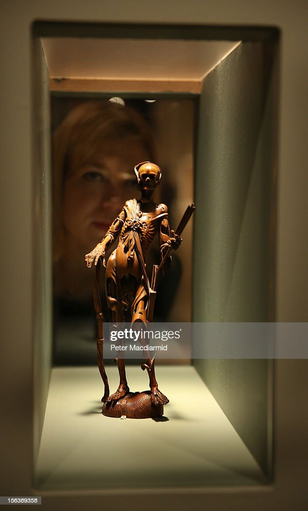 An 18th century fruitwood Memento Mori is shown at the Death: A Self-portrait exhibition at the Wellcome Collection on November 14, 2012 in London, England. The exhibition showcases 300 works from a unique collection by Richard Harris, a former antique print dealer from Chicago, devoted to the iconography of death. The display highlights art works, historical artifacts, anatomical illustrations and ephemera from around the world and opens on November 15, 2012 until February 24, 2013.