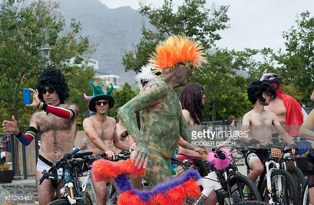 An 81 yearold man in green body paint gets ready to take part in the annual Naked Bike Ride through the streets in the city centre on March 08 in...