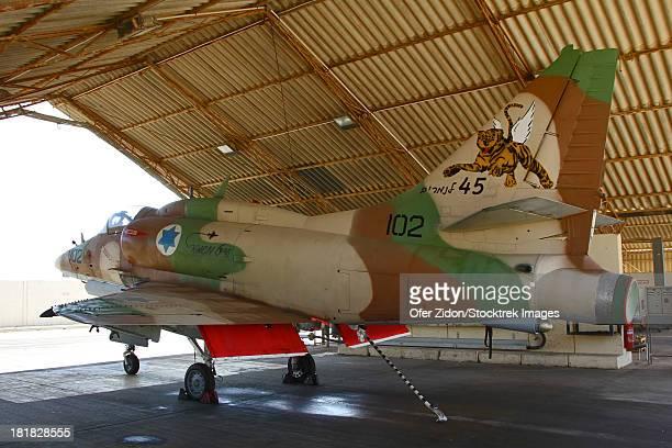 An A-4N Ayit of the Israeli Air Force in the hangar at Hatzerim Airbase.
