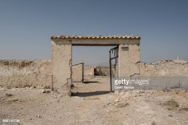 An abandoned brick factory is seen on July 28 2017 in Lorca Spain As the severe drought in Spain's Southeastern regions of Albacete Guadalajara...