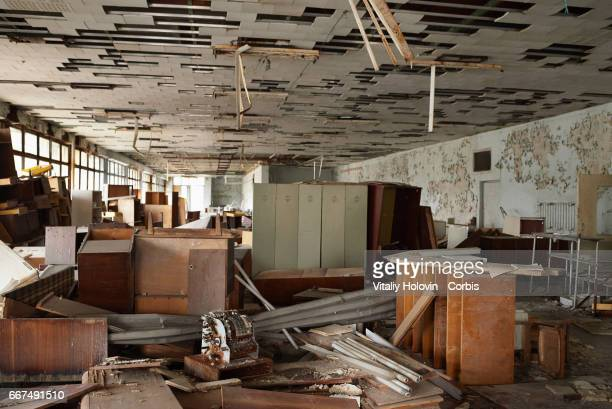 An abandoned building of the shop in the Pripyat near the Chernobyl nuclear power plant in the Exclusion Zone Ukraine April 5 2017 The Chernobyl...