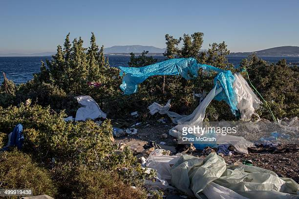 An abandoned campsite used by migrants and refugees waiting for boats to Greece is seen on a cliff top overlooking a boat launching point in the...