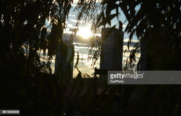 An abandoned chair is seen through tree leaves as the sun beams beyond tall residential buildings under construction in Ankara Turkey on October 15...