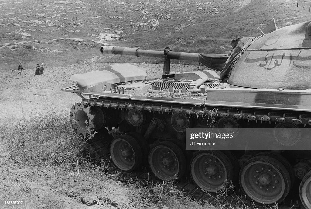 An abandoned Egyptian Army tank one month after the Six Day War ends Jerusalem 1967