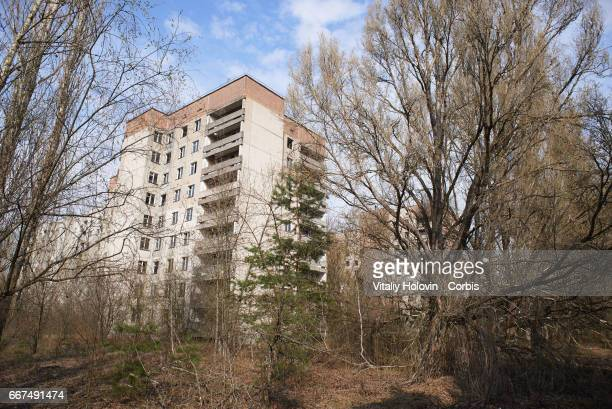An abandoned main street in the Pripyat near the Chernobyl nuclear power plant in the Exclusion Zone Ukraine April 5 2017 The Chernobyl nuclear...