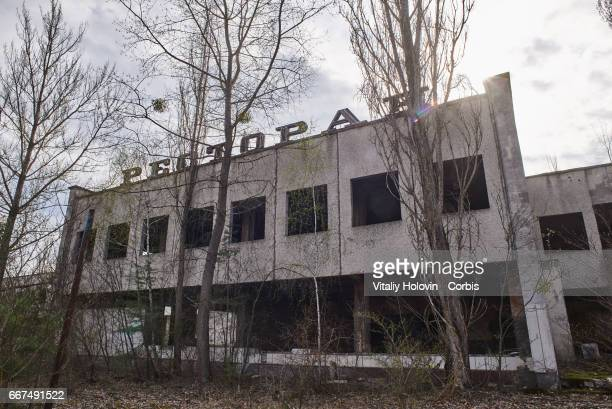 An abandoned restaurant in the Pripyat near the Chernobyl nuclear power plant in the Exclusion Zone Ukraine April 5 2017 The Chernobyl nuclear...