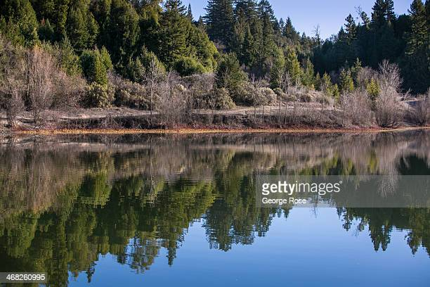 An abandoned rock quarry converted to a water storage lake located adjacent to the Russian River in Riverfront Regional Park is viewed on January 25...