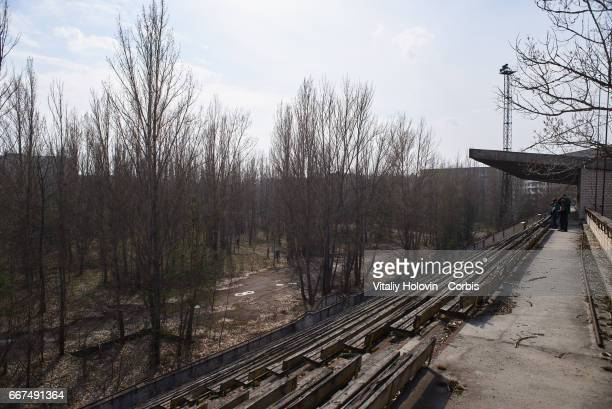 An abandoned stadium in the Pripyat near the Chernobyl nuclear power plant in the Exclusion Zone Ukraine April 5 2017 The Chernobyl nuclear accident...