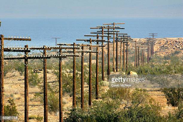 An abandoned telephone line stretches toward the Salton Sea on the former Salton Sea Test Base once an atomic weapons testing site on October 21 2005...