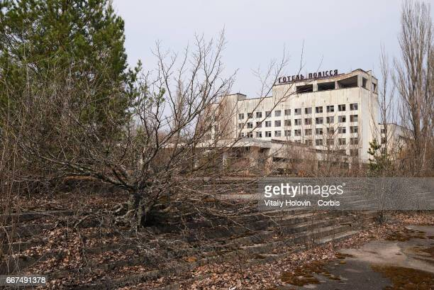 An abandoned the building of hotel 'Polissya' in the Pripyat near the Chernobyl nuclear power plant in the Exclusion Zone Ukraine April 5 2017 The...