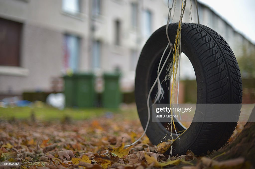 An abandoned tyre near disused housing in the Hamiltonhill area on October 23, 2012 in Glasgow, Scotland. The Scottish National Party (SNP) have announced a welfare fund to provide emergency support to disadvantaged people who are struggling with issues such as unemployment, low income, poor health and lack of educational qualifications.