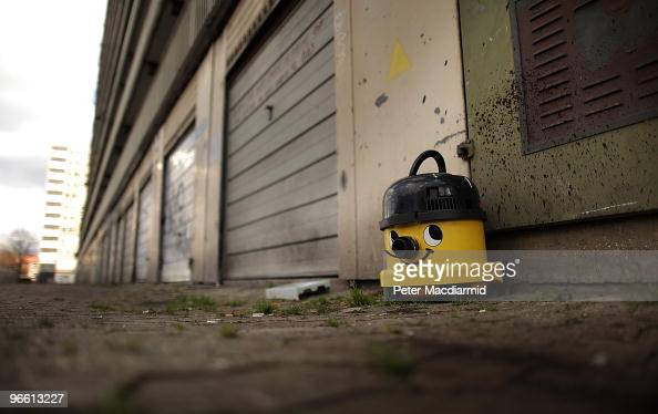 An abandoned vacuum cleaner lies on the ground near empty garages on the Heygate housing estate near Elephant and Castle on February 11 2010 in...