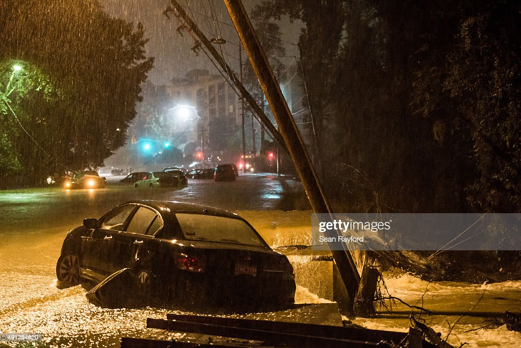 An abandoned vehicle sits in flood water the morning October 4 2015 in Columbia South Carolina South Carolina experienced a record rainfall with at...