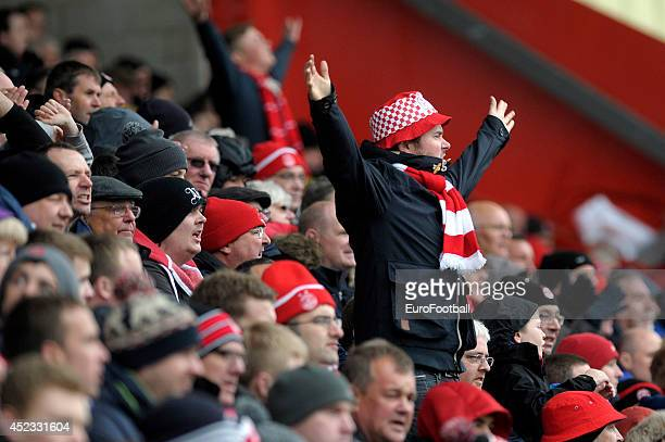 An Aberdeen fan during the Scottish Premiere League match between Aberdeen FC and Motherwell FC at Pittodrie Stadium on May 11 2014 in...