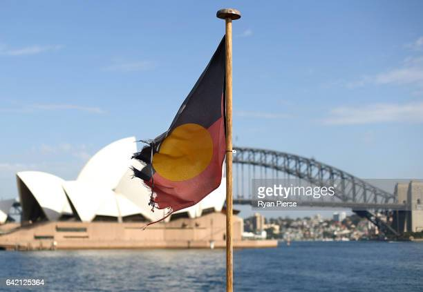 An Aborginal Flag is seen flying in front of the Sydney Opera House and the Sydney Harbour Bridge as Midnight Oil announce their upcoming World Tour...