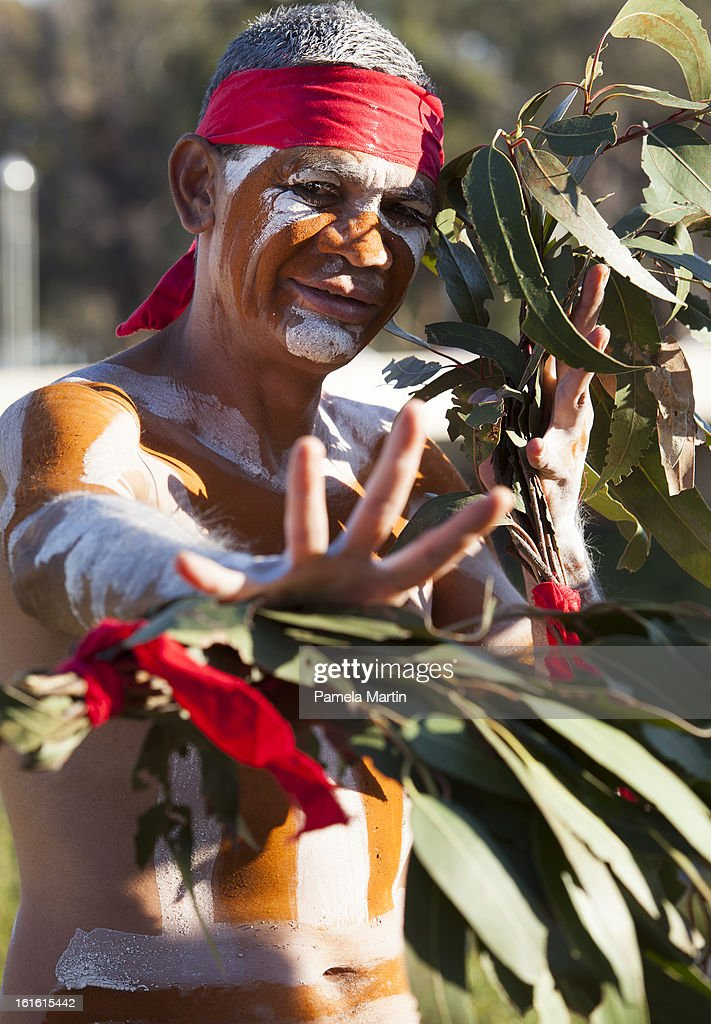 An Aboriginal dancer performs during 'The Apology - Five Years On - Heal our Past, Build our Future' at Federation Mall on February 13, 2013 in Canberra, Australia.