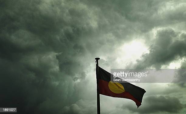 An Aboriginal flag flies during an Australian Football League tour of Darwin and the Tiwi Islands in Australia on April 2 2003