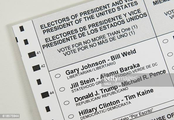 An absentee ballot featuring voting options for the US presidential election including Republican presidential nominee Donald Trump and Democratic...